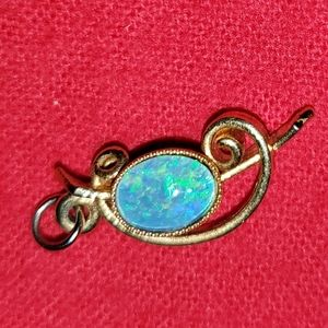 Opal necklace charm